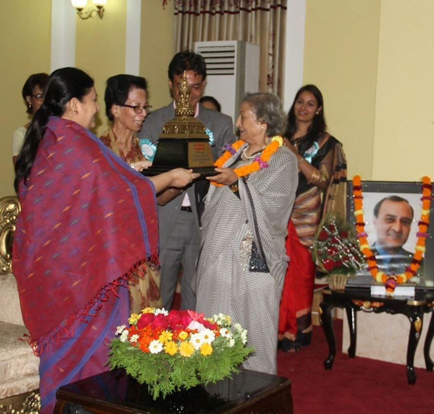 PP Prasai Tourism Lifetime Achievement Award 2016 to Ms. Ambica Shrestha