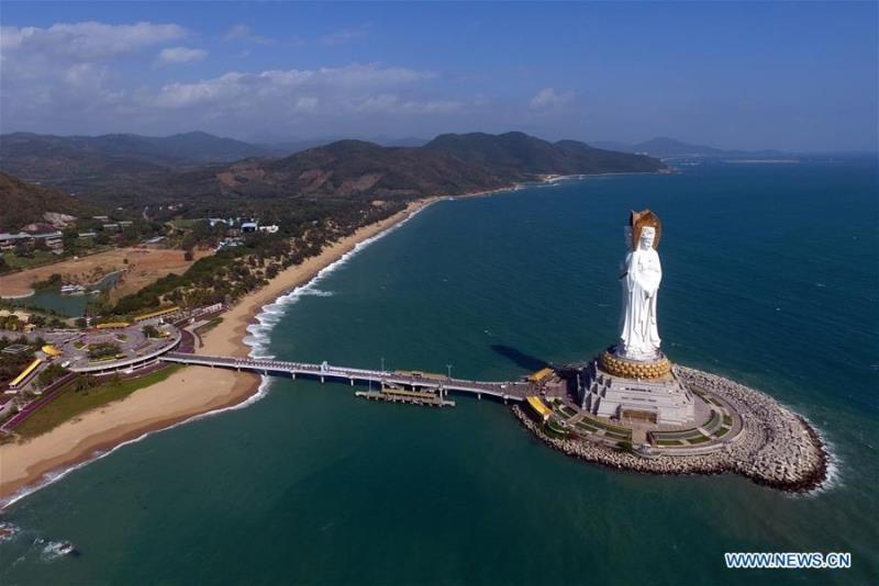 108-meter-tall Buddhism statue in Sanya, south China's Hainan