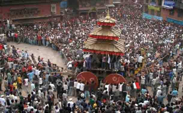 Renowned Bisket Jatra festival in Bhaktapur ( Nepal )